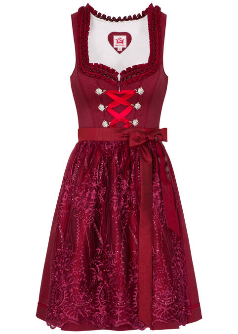 "Dirndl ""Maria"" mini, Rot Frontansicht"